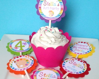 12 Art Birthday Party Cupcake Toppers