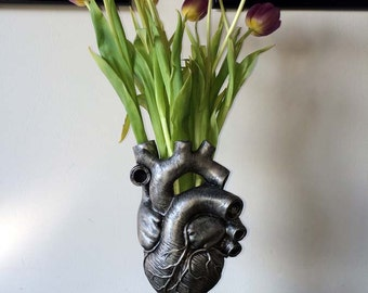 Anatomical Heart Vase, Pewter Finish