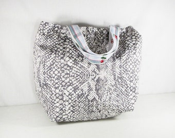 Gray Snake Skirt Tote Bag with Cherry & Plaid Handles