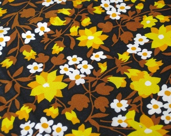 """Vintage Fabric - Flowers - Yellow, Orange &Brown on Black - By the Yard x 36""""W - Retro - Sewing Material - Autumn Colors"""