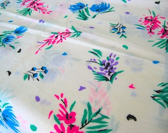 "Vintage Fabric - Bright Flowers - Manes - By the Yard x 44""W - 1970's - Retro - Sewing Material - Craft Supply - Yardage"