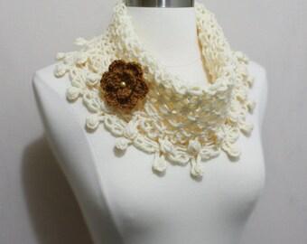 Lovely Crochet Net-Like Collar Cowl Neckwarmer Scarf with Flower