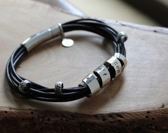 Custom Sterling Silver & Leather Wrap Bracelet with Secret Spinning Message Bar, Personalized Quote Bracelet - Jess Bracelet