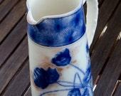 Porcelain Floral Jug - Blue and White Pouring Vase - Golden details - British Mid Century