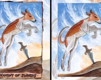Greyhound Art, Custom Size, Knight of Swords Tarot Card, Large Wall Art, Dog Print, Cloudy Sky, Nature Decor, Pet Owner Gift, Animism Tarot