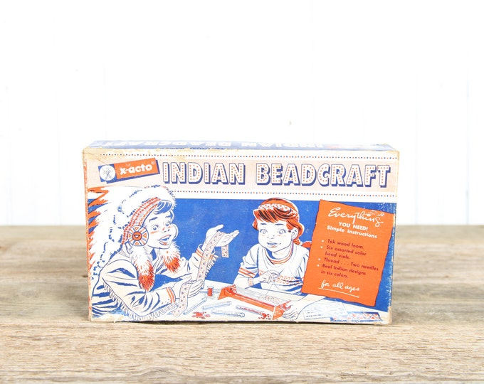 Old Games / Vintage X-acto Indian Beadcraft Making Kit / 1940s Xacto / X-acto Bead / Antique Games / Old Game / Board Game / Unique Gift