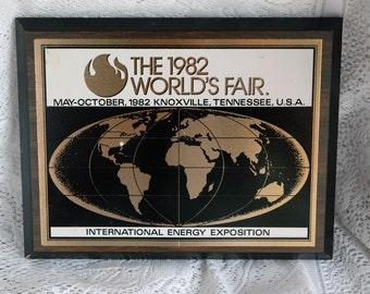 1982 Worlds Fair International Energy Exposition Plaque Knoxville TN
