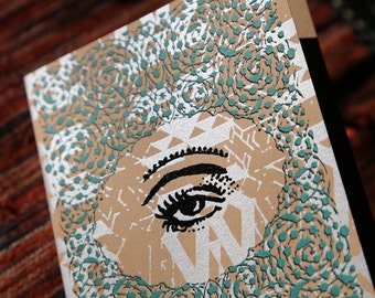 Arabesques and All-Seeing Eye Design // Three Color Hand Printed Blank Occasion Card // Teal Silver Black