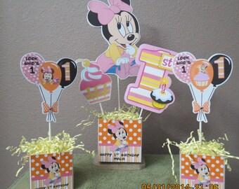 Baby Minnie's 1st Birthday Centerpiece (3 Piece Set)