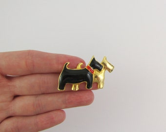 Vintage 1980s Enamel Scottie Dog Brooch in Black Gold & Red - Scottish Terrier