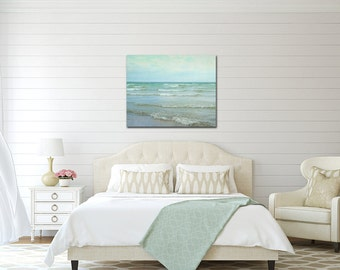 Ocean Canvas Photography, Beach Large Wall Art, Lake House Decor, Mint Green Picture, 24x30 Photograph