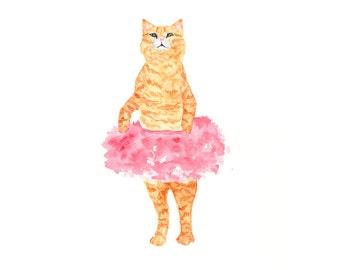 cat painting, watercolor cat, cat art, cat print, ballerina painting, kids painting, nursery cat art, watercolor animals, 8X10 print
