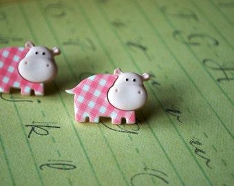 Hippo Earrings -- Pink Hippo Earrings, Hippo Studs, Hippo Jewelry