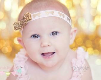 Gold Bow Baby Headband  - Baby Girl Headbands - Newborn Headband - Baby Bow - Infant Headband - Headband - Baby Girl - Baby - Headbands
