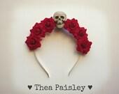 Flower halo/ Flower crown red halo / flower crown/skull/ pastel goth/ pastel grunge/ goth/ rose halo/ goth flower