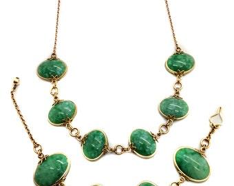 Vintage 1950's OOAK Gold Filed Green Lucite Cabochon Necklace Bracelet Demi Parure
