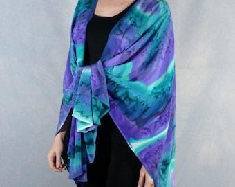 Hand Painted Silk Ruana, Shawl, Scarf, Wrap in turquoise, purple, emerald