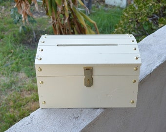Small Wooden Wedding Treasure Chest Card Box with Card Slot Painted Ivory