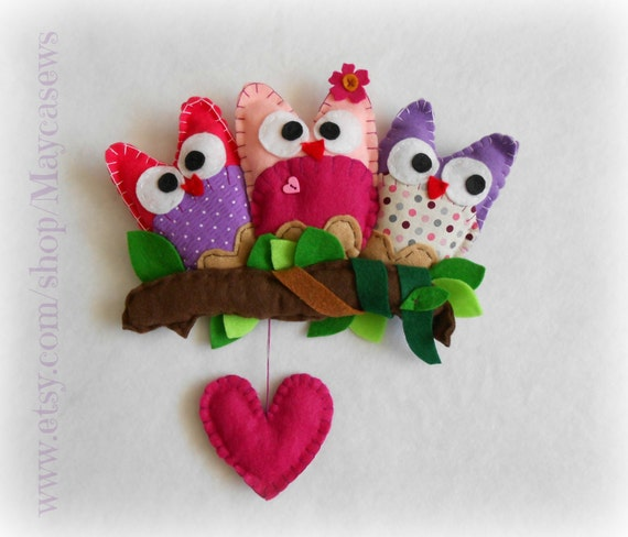 Pink Heart Owl Friends. Wall hanging. Nursery. Girl's room. Pink. Spring decor. READY TO SHIP.