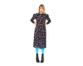 Vintage  Grunge Dress Purple Floral Dress Long Sleeves Banded Waist Medium