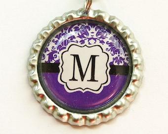 Monogram Bookmark, Damask Monogram, Personalized Bookmark, bookmark, custom bookmark, Purple Black, Damask, Monogram,Stocking Stuffer (3431)