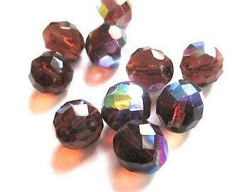Smoky Topaz AB Czech Glass Beads Fire Polish 12mm Rounds - 10 Pieces