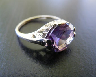 15% Off Sale.S251 New Sterling Silver Antique Style Filigree Ring With 5 Carat Natural Amethyst Gemstone