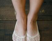 Lace Heels Socks, Toe Socks, Flats Lace Short Socks, Girly Lace Socks, Short Fashion Sock, Women's Floral All Lace Sock Ivory Khaki (BS-106)