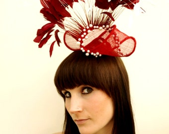 "Red and white feathered fascinator ""Feathered Flourish"""