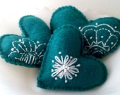 SALE Hand-Embroidered Felt Heart Ornament Set of 3 in Deep Teal