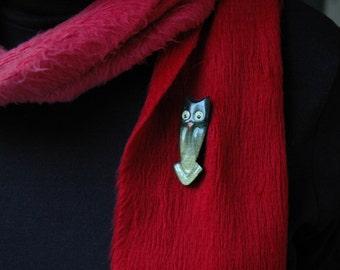 Owl Brooch Vintage Pin Green
