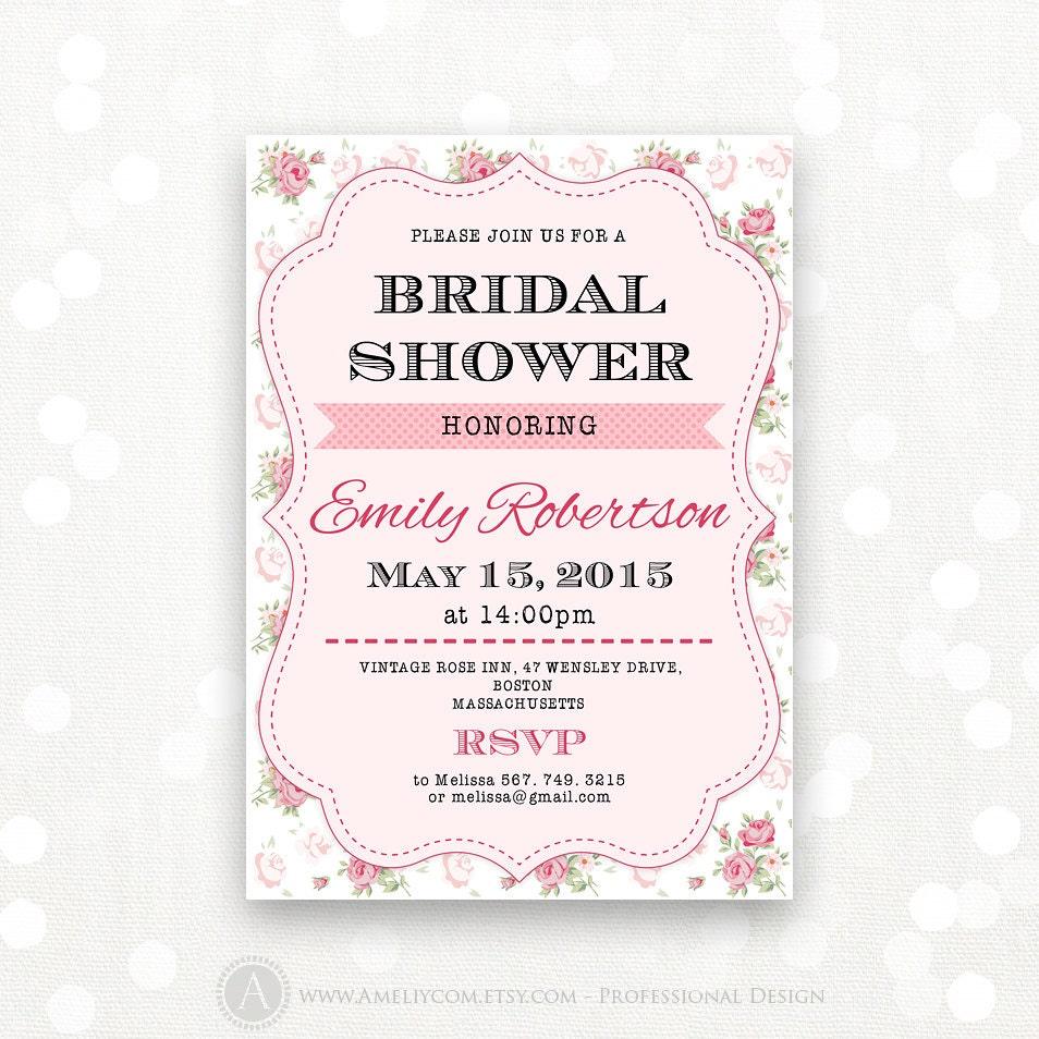 Printable bridal shower invitation bridal tea party invite for Bridal shower invitations printable