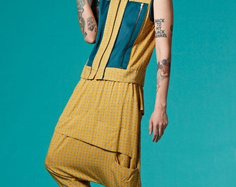 SALE 35% OFF - Cropped Unisex Vest / Tank Tops  (Yellow Print)