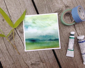 Mini painting, Abstract watercolor landscape - Fine art giclee print - Green, blue, amber - Cottage decor - Archival reproduction, 4x4 art
