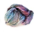 silk scarf - Nacreshell -  light grey, light green, pink, lavender silk scarf.