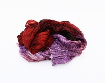 purple silk scarf - Surreal Moment -  brown, terracota, purple, lavender silk scarf.