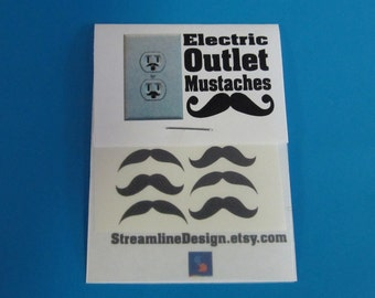 Electric Outlet Mustaches set of six stickers stocking stuffer fun gift idea hipster geekery mustache decals FREE SHIPPING
