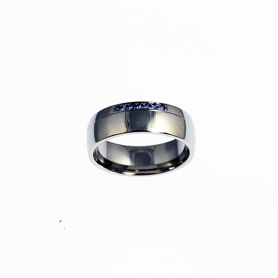 Blue Sapphire Ring 950 Platinum Mens Wedding Band