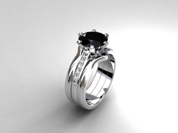 Items similar to Black spinel engagement ring set, diamond ...