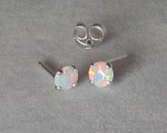 Opal Earrings, Opal Studs, White Opals, Opal Stud Post, Stud Earrings, Opal Jewelry