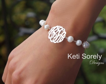 Pearl Bracelet With Monogram Initials Charm - Bbridal Bracelet - Small To Large Size Monogram - Personalized Initials - Sterling Silver