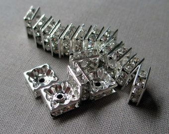 8 mm rhinestone square rondelle beads clear shiny silver medium jewelry supplies, lot of 20 pcs