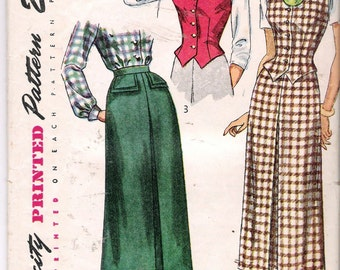 Vintage 1949 Simplicity 2720 Skirt & Weskit Sewing Pattern Size 16 Bust 34""