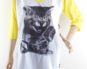 8 USD. Size L : Cat Sing A Song Cat Shirt Meow shirt Graphic tshirt teen shirt funny shirt Baseball Tee Raglan Shirt Women Tshirts