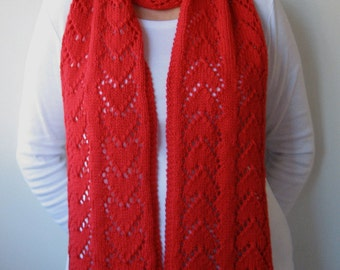 Lace Hearts Knit Scarf Pattern - FOREVER HEARTS Scarf Knitting Pattern PDF - Instant Download