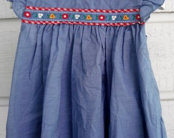 Vintage Chambray Dress with Flower Trim-Size 24 months- New, never worn