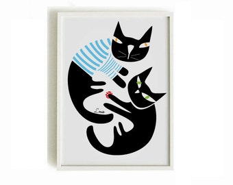Black cats print Cat poster 2 - black cats print - cat shop - art print by nicemiceforyou