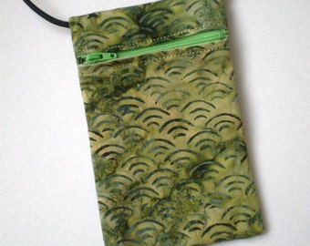 Pouch Zip Bag Olive Green BATIK Fabric.  Great for walkers, markets, travel.  Cell Phone Pouch. Small fabric purse.