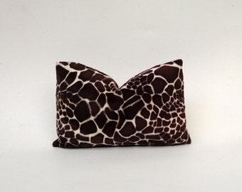 Faux Giraffe Pillow Cover Chocolate Brown, Black, White 20 x 20, 12x 18, 16 x 16 Square, Lumbar, Many Sizes