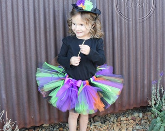 HALLOWEEN WITCH Costume--Custom Made Hand-Tied Ribbon Tutu Skirt with Witch Hat, Sizes Newborn-5T